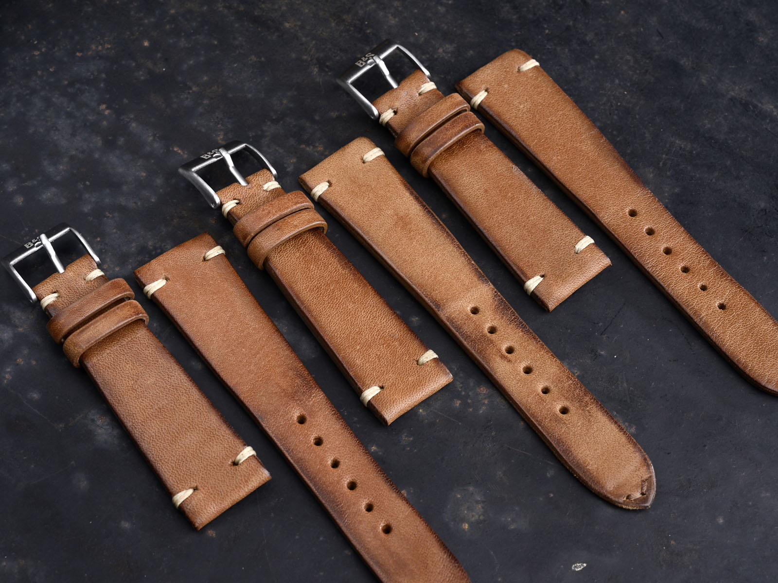 B&S 'Cosaro' Vintage Medium Brown Leather Watch Strap 20 mm