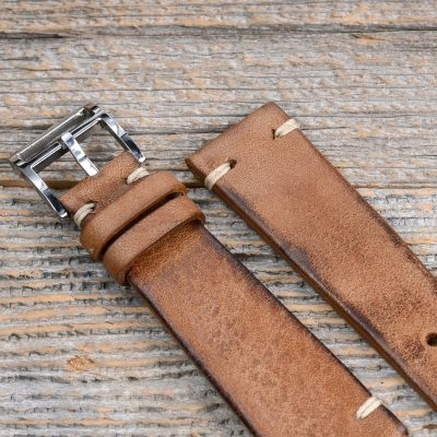 B&S 'Cosaro Elegante' medium brown Hand-made Leather Strap 20 mm