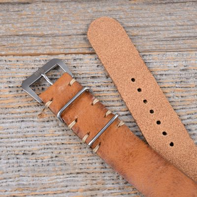 B&S Medium Brown Leather Hand-made Nato Strap 20mm