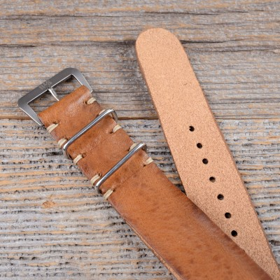 B&S Medium Brown Leather Hand-made Nato Strap 22mm