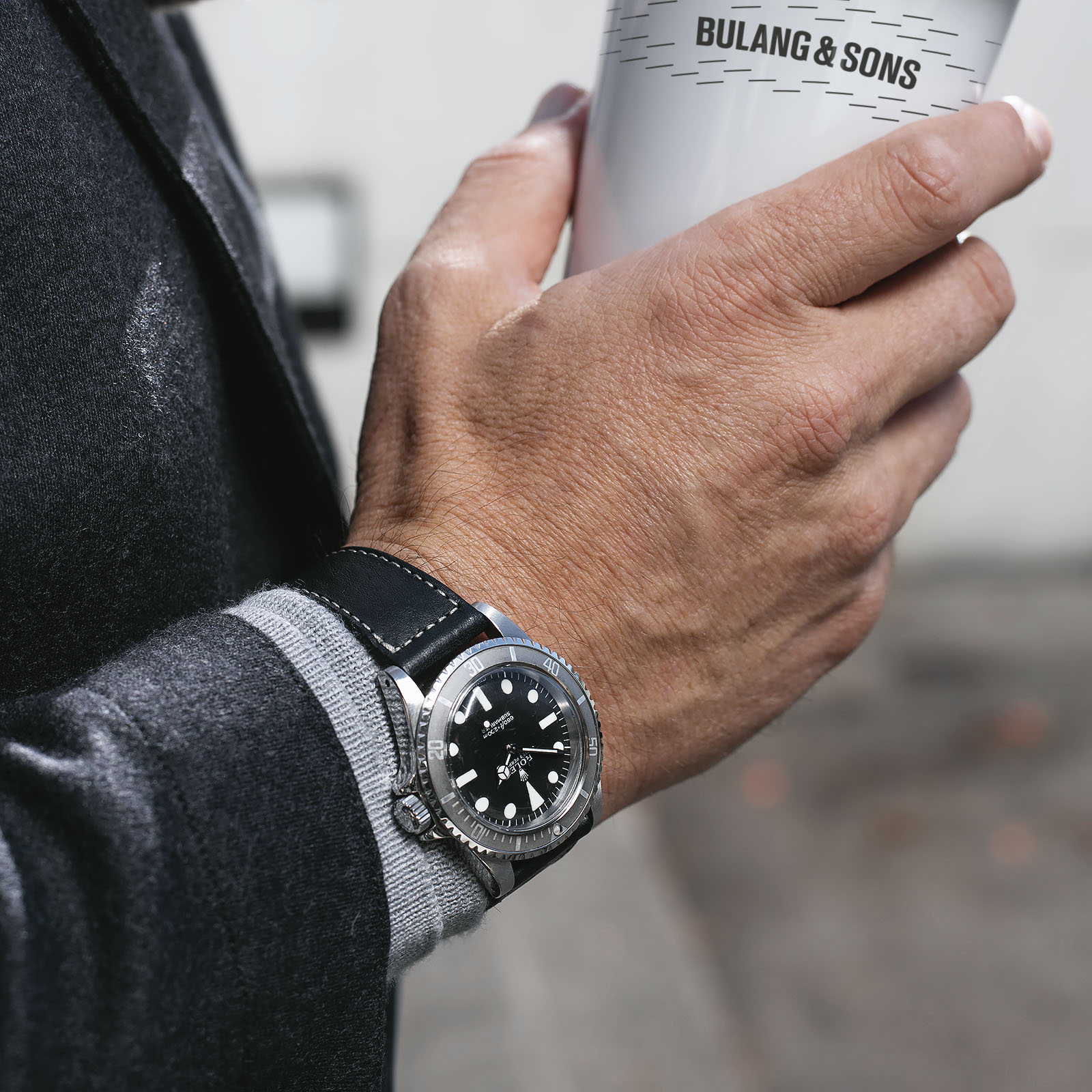 The 9 TO 5 Collection - Authentic Style for your Business and Life, Rolex 5513 Maxi Submariner on a Bulang and Sons Leather Watch Strap