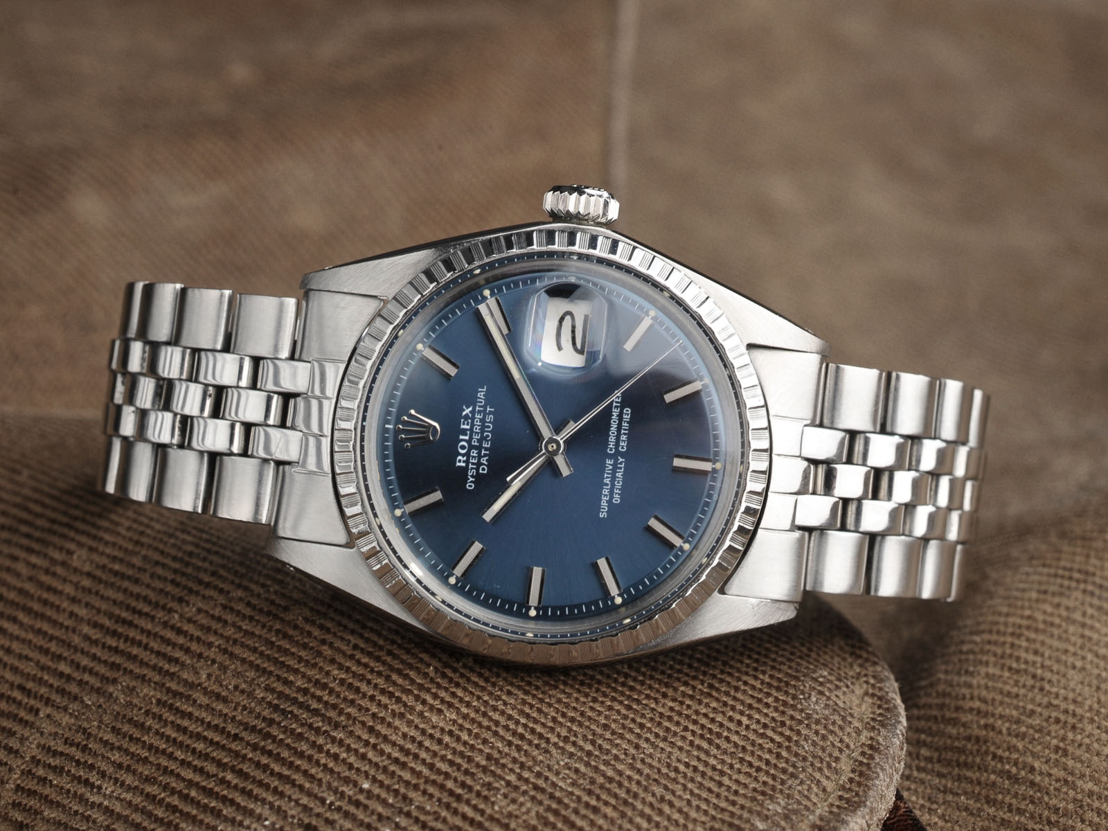 Fedex Box Prices >> ROLEX 1603 DATEJUST BLUE WIDE BODY - Bulang and Sons