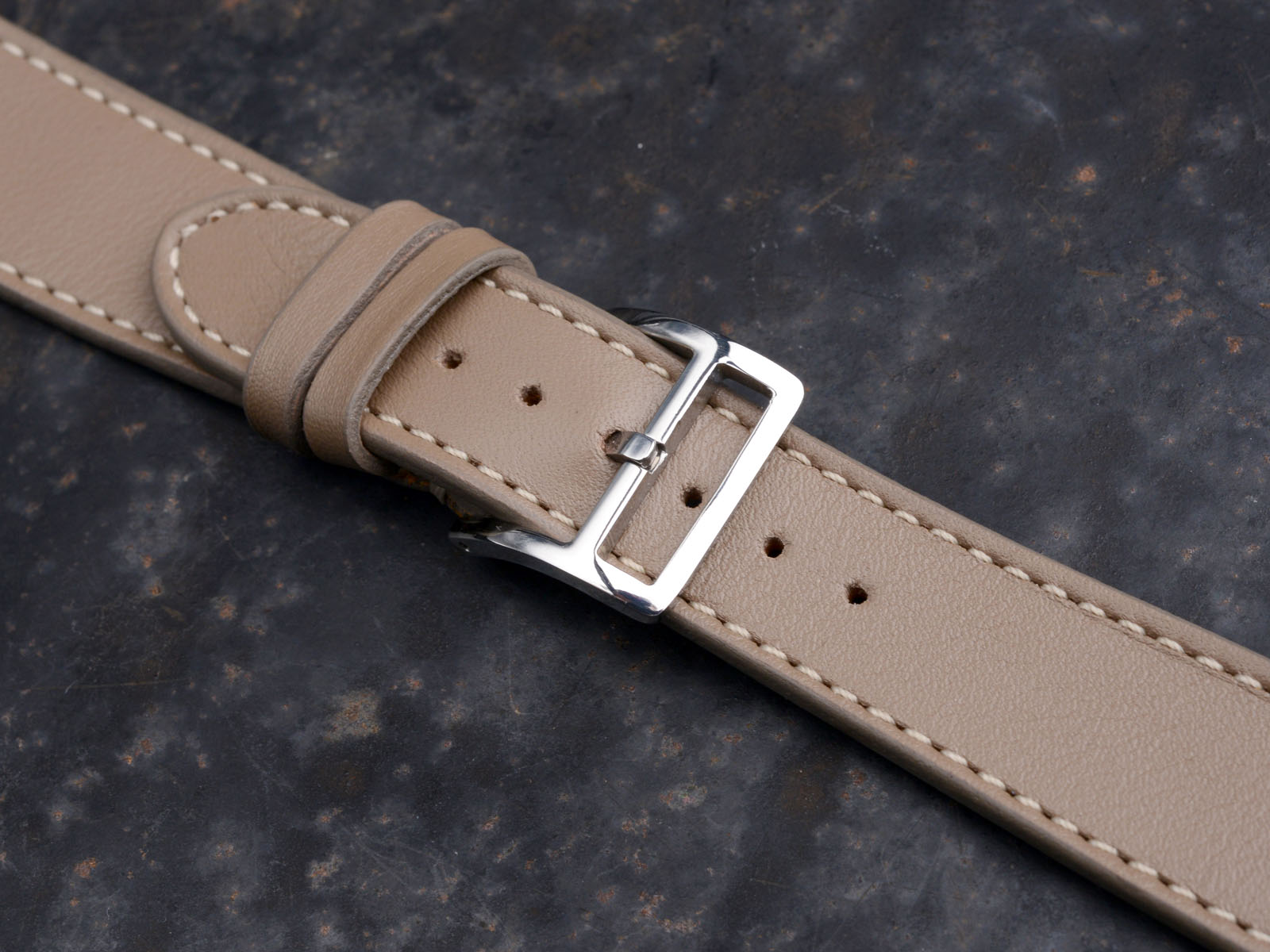 B&S 'Lusso Elegante' Taupe Hand-made Leather Strap 20 mm