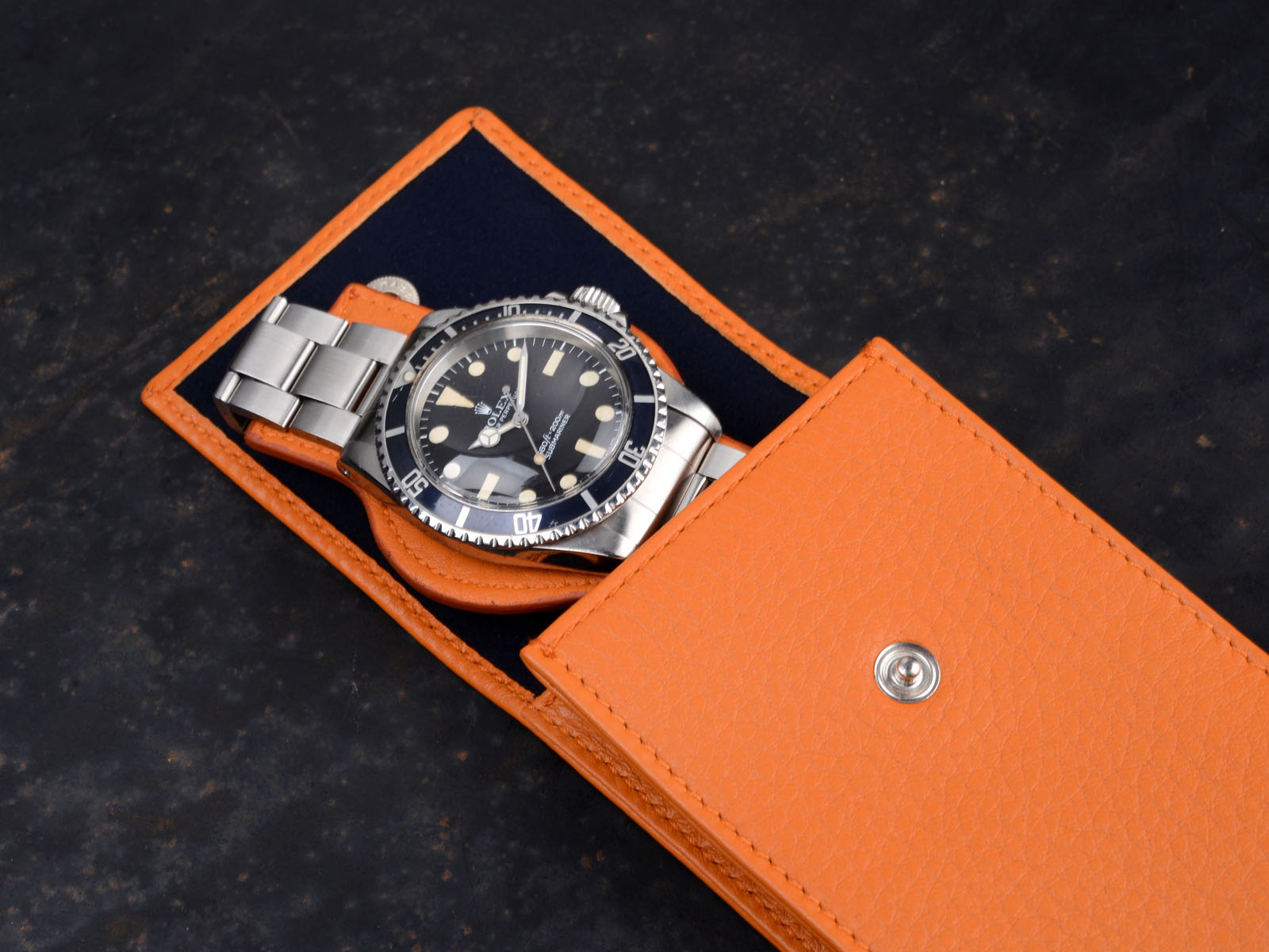 B&S 'Lusso' Orange Hand-made Watch Pouch at Bulang & Sons. Fine watches and collecting lifestyle. For Rolex, Omega, Heuer, longines, patek and other watches. Made in Italy out of finest leather by great craftsmen. Watch essentials with style.