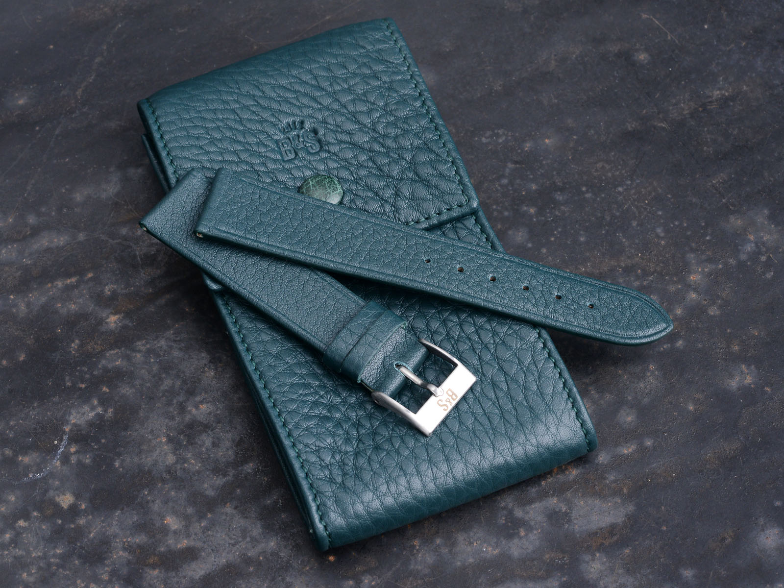 B&S 'Lusso' Petrol Green Hand-made Watch Pouch
