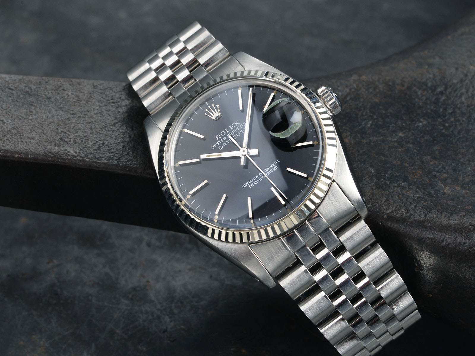 gloss black dial rolex datejust 16014 bulang and sons