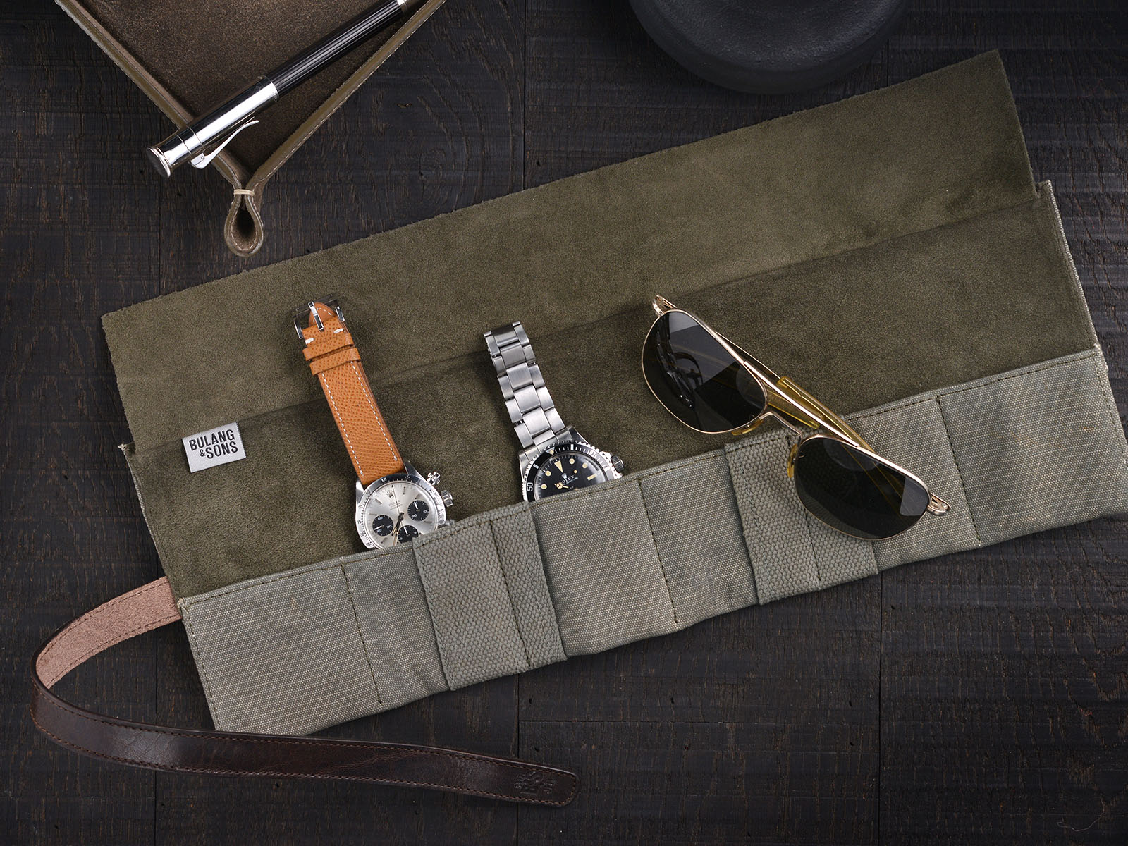 B&S/JP 'Signature' Vintage Leather / Canvas Watch Roll 10