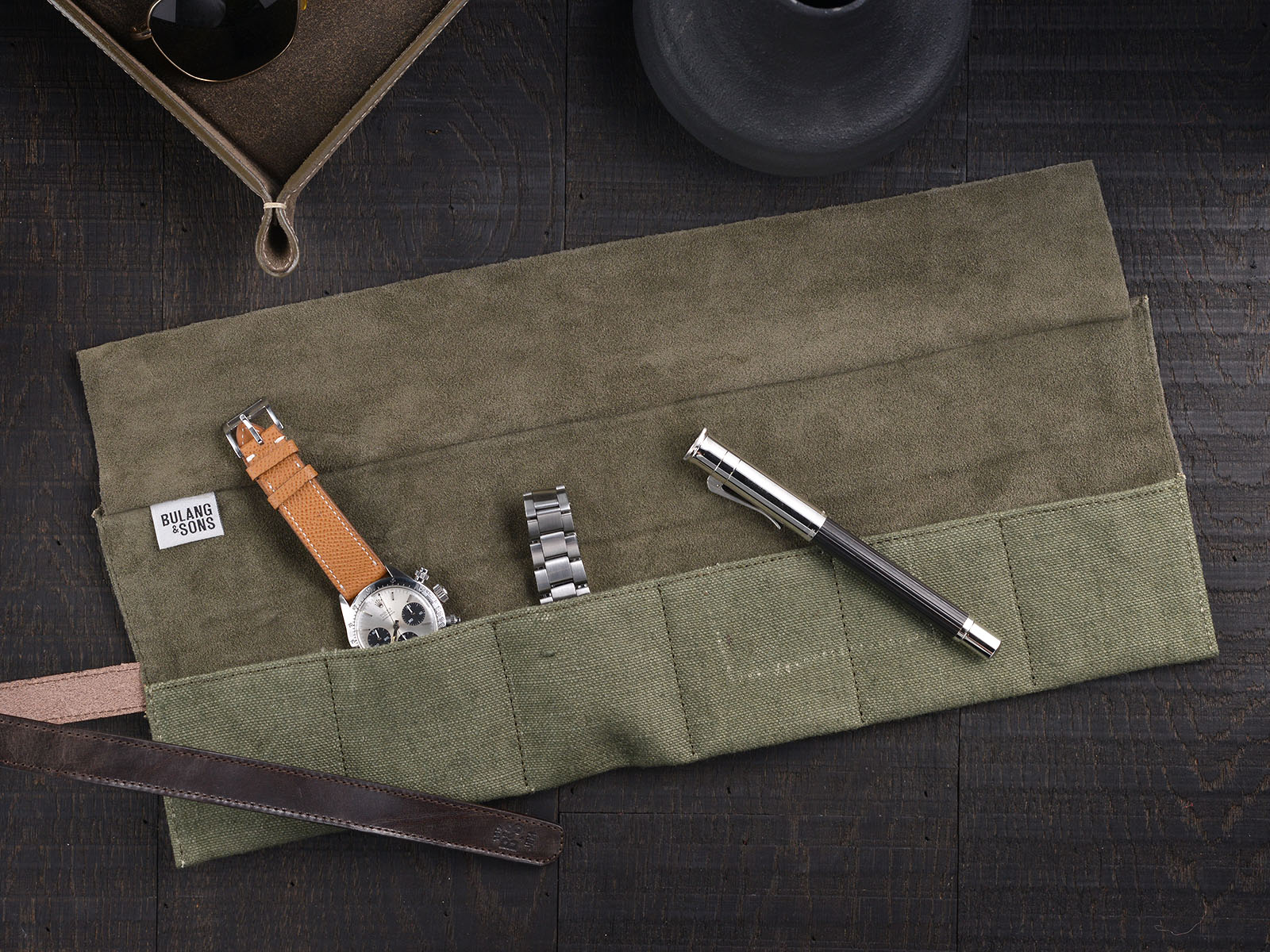 B&S/JP 'Signature' Vintage Leather / Canvas Watch Roll 11