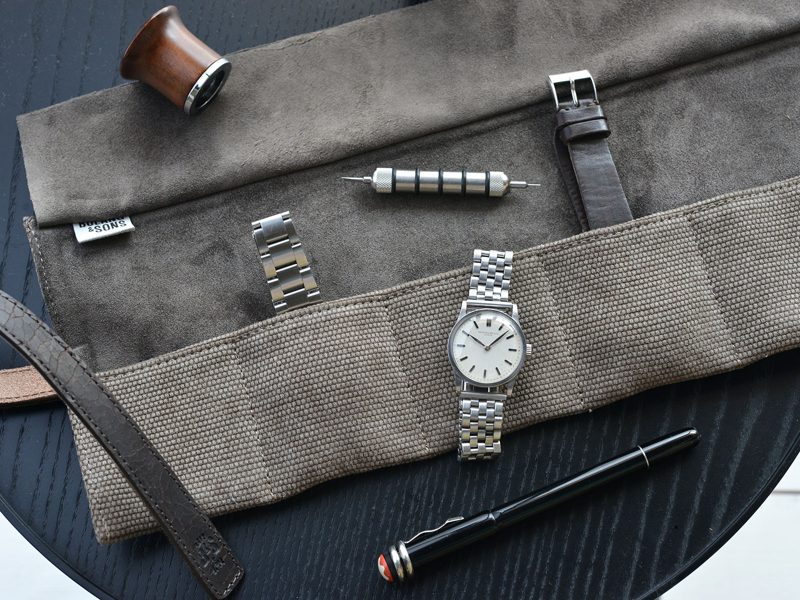 B&S 'Signature' Grey Brown Leather Canvas Watch Roll
