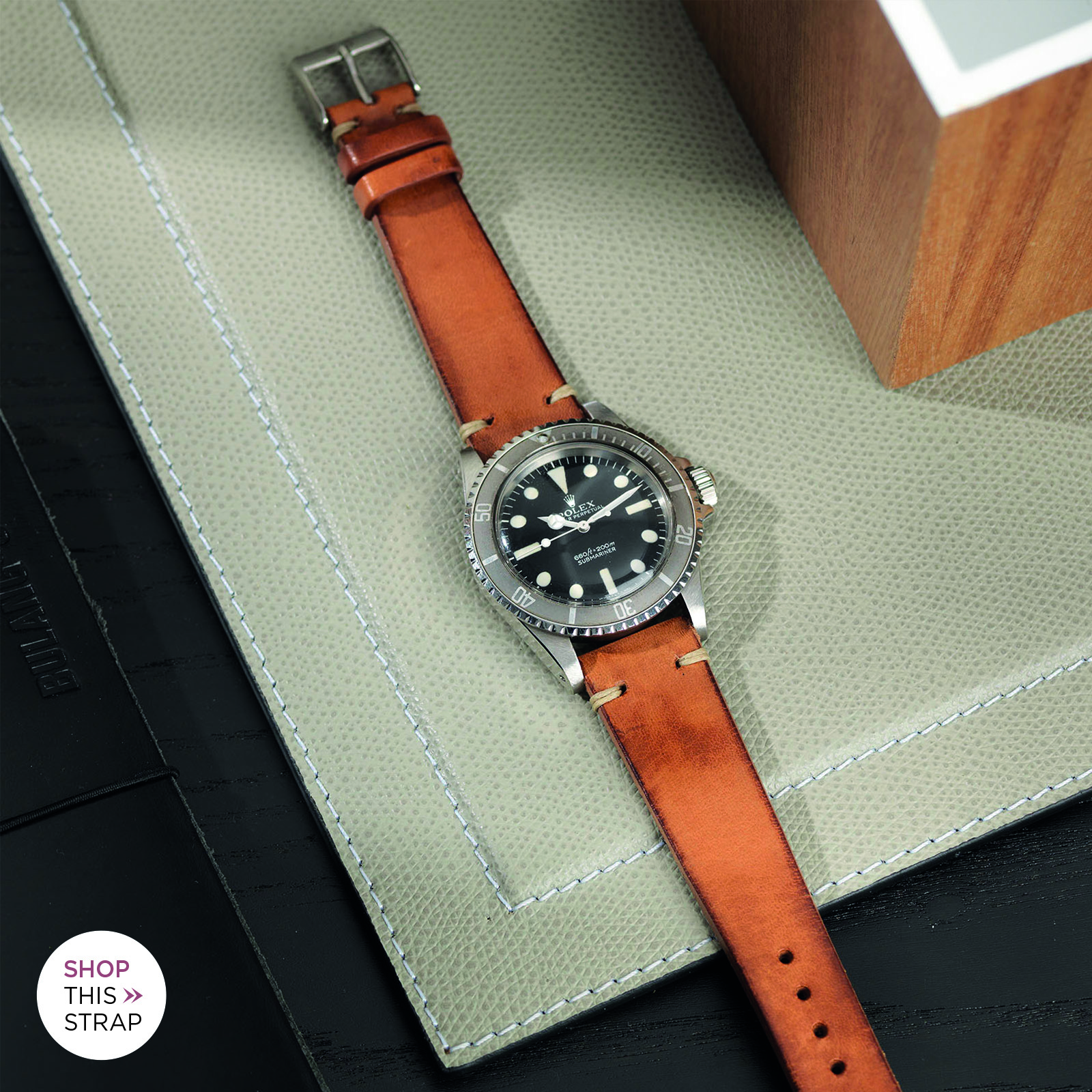 The Rolex 5513 Faded Maxi Submariner Leather strap guide