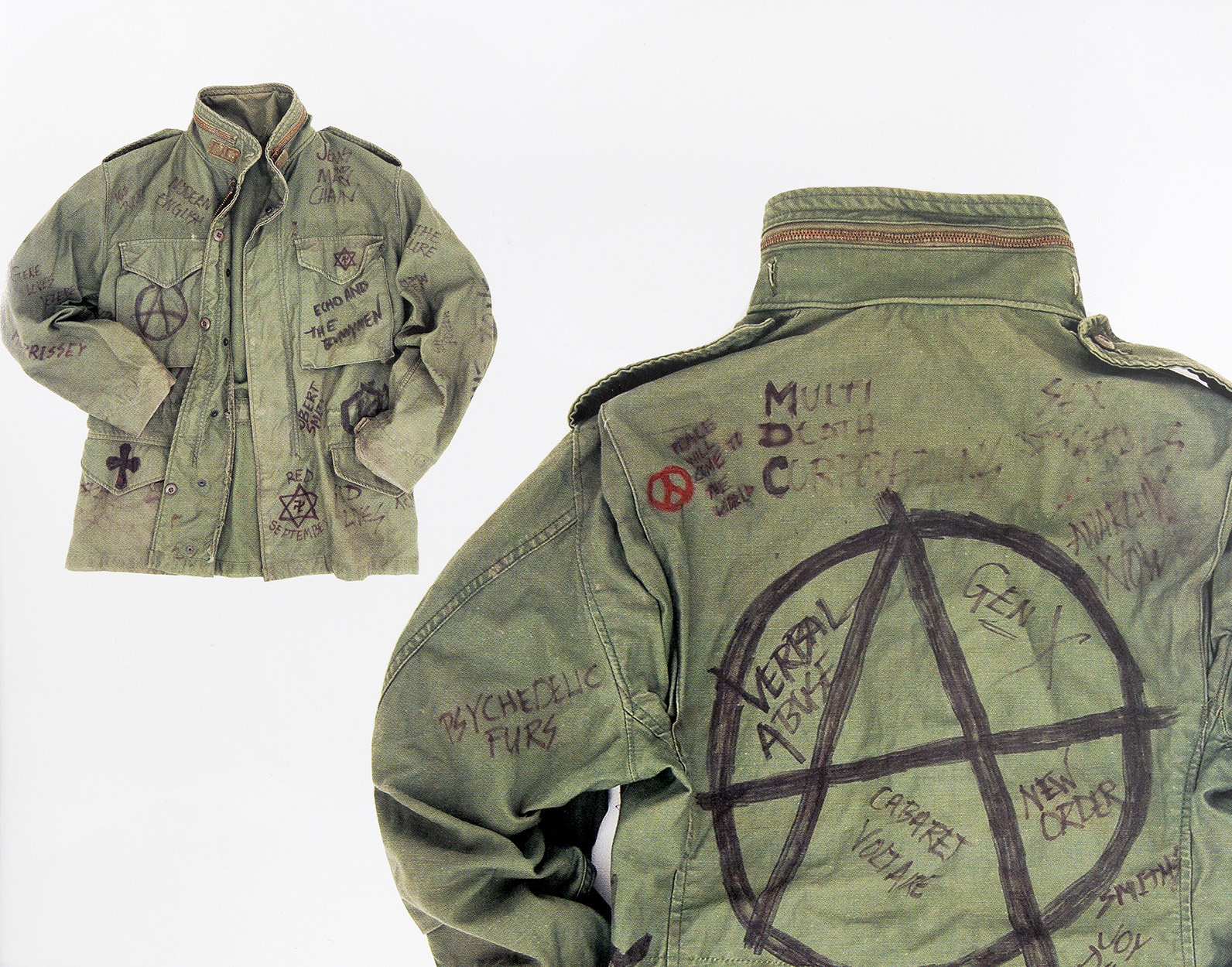 M-65 Field Jacket decorated with the names of many underground bands ce241141110