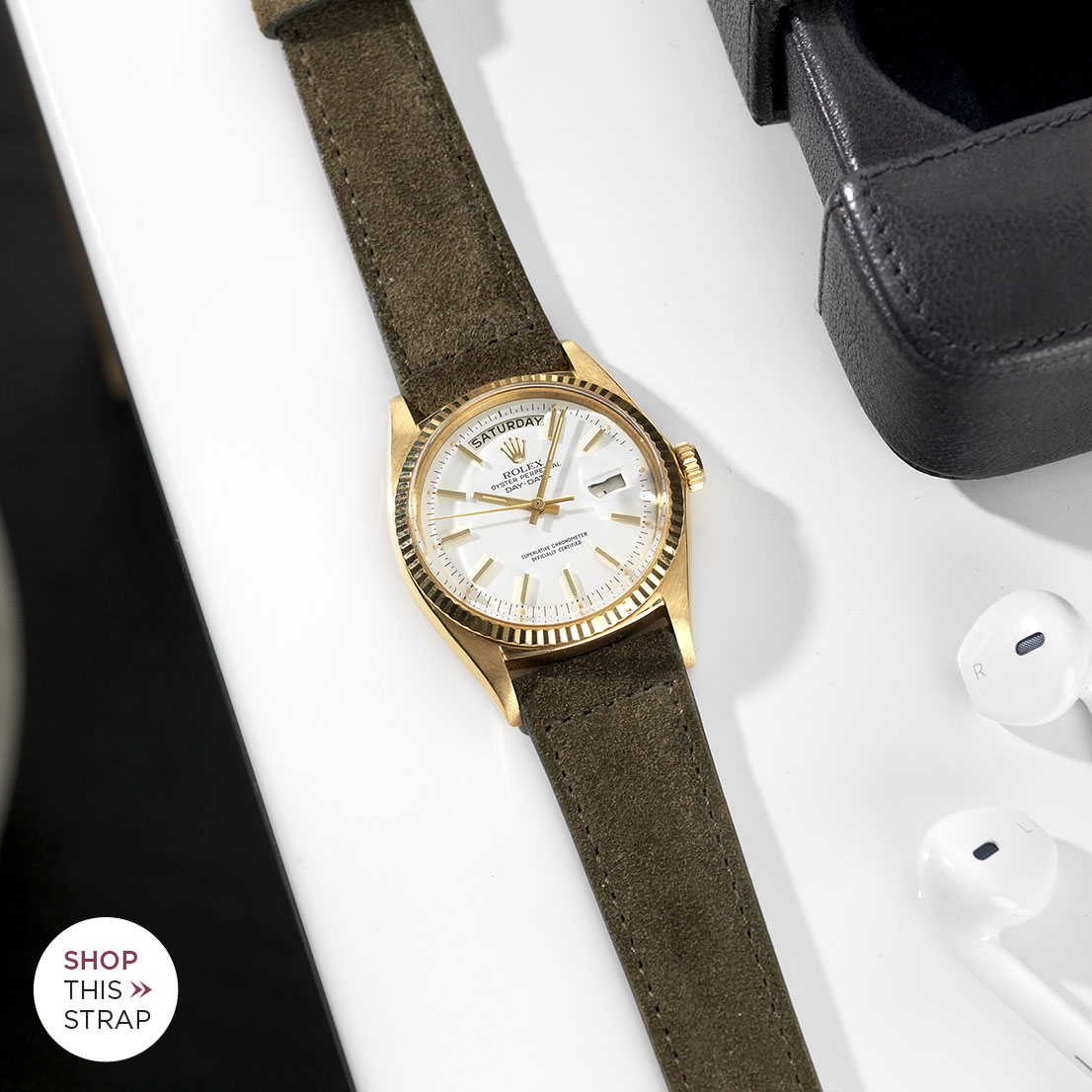 B&S Strap Guide Day Date Gold White Dial