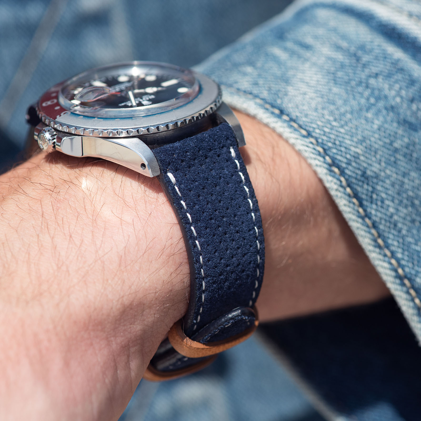 Punched Blue Silky Suede Leather Watch Strap