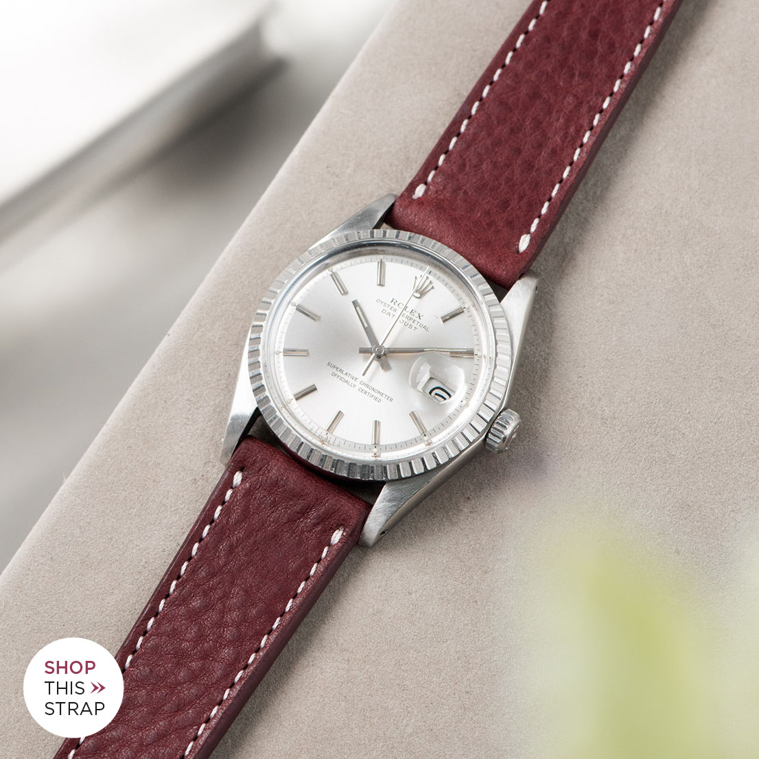 Bulang and sons_Strap Guide_Rolex Datejust Silverdial 1601 1603 1600 1630_BURGUNDY RED LEATHER WATCH STRAP