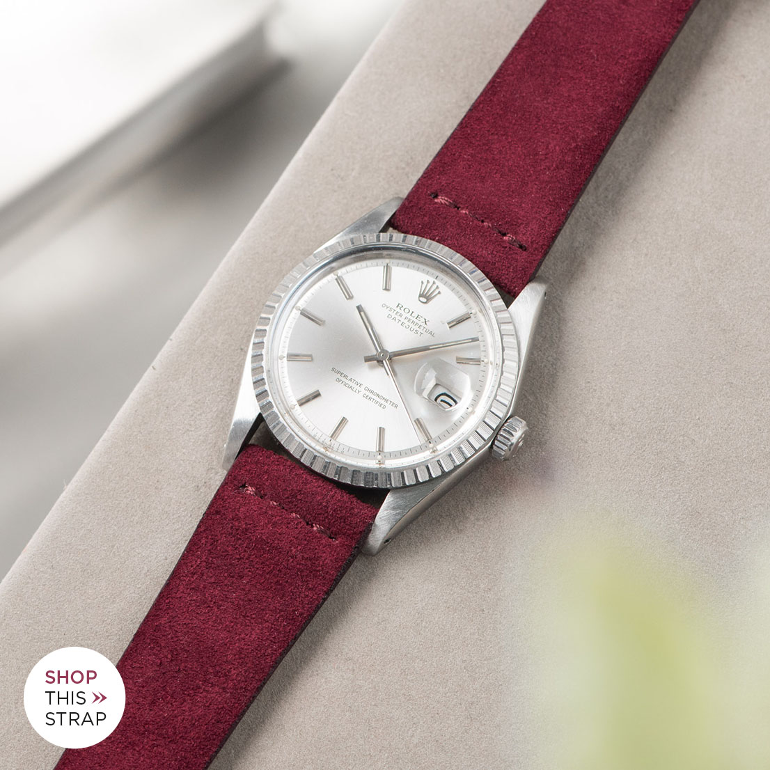 Bulang and sons_Strap Guide_Rolex Datejust Silverdial 1601 1603 1600 1630_BURGUNDY RED SILKY SUEDE LEATHER WATCH STRAP