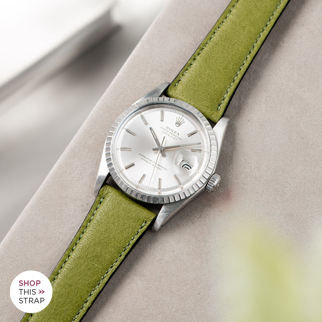 Bulang and sons_Strap Guide_Rolex Datejust Silverdial 1601 1603 1600 1630_CITY GREEN LEATHER WATCH STRAP