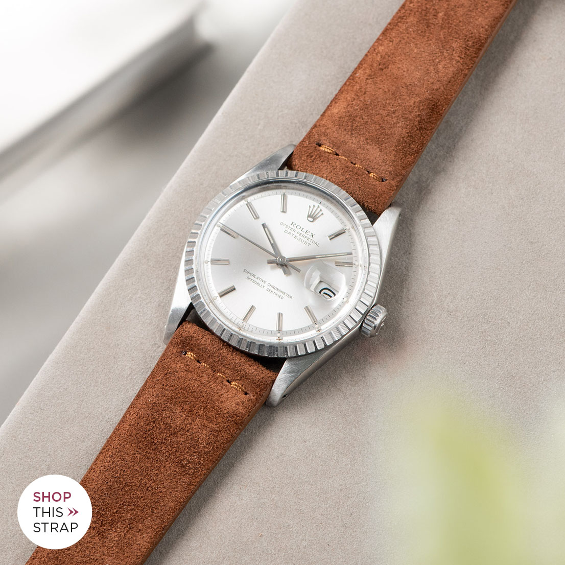 Bulang and sons_Strap Guide_Rolex Datejust Silverdial 1601 1603 1600 1630_COGNAC BROWN SILKY SUEDE LEATHER WATCH STRAP