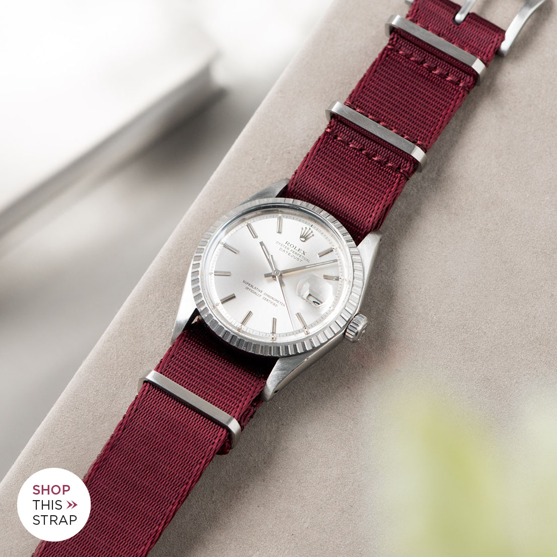 Bulang and sons_Strap Guide_Rolex Datejust Silverdial 1601 1603 1600 1630_DELUXE NYLON NATO WATCH STRAP BURGUNDY RED