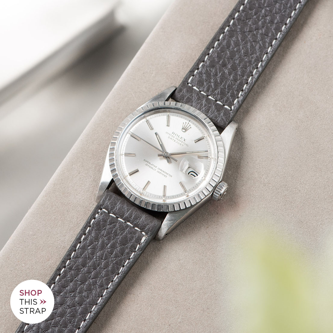 Bulang and sons_Strap Guide_Rolex Datejust Silverdial 1601 1603 1600 1630_ELEPHANT GREY LEATHER WATCH STRAP