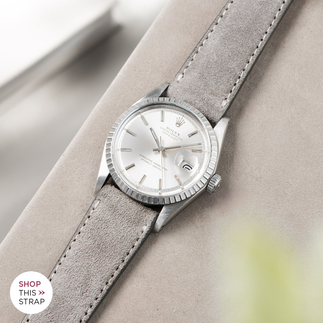 Bulang and sons_Strap Guide_Rolex Datejust Silverdial 1601 1603 1600 1630_HARBOR GREY SILKY SUEDE LEATHER WATCH STRAP