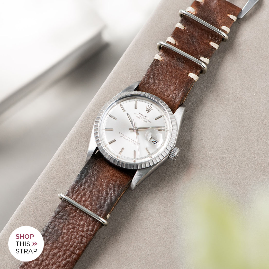 Bulang and sons_Strap Guide_Rolex Datejust Silverdial 1601 1603 1600 1630_LUMBERJACK BROWN NATO LEATHER WATCH STRAP