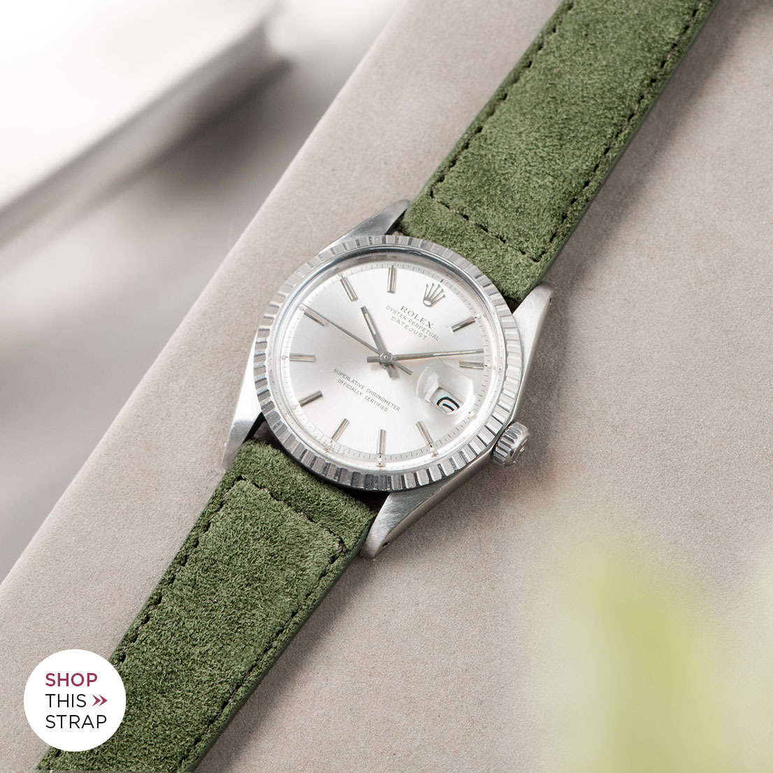 Bulang and sons_Strap Guide_Rolex Datejust Silverdial 1601 1603 1600 1630_OLIVE DRAB GREEN SUEDE LEATHER WATCH STRAP