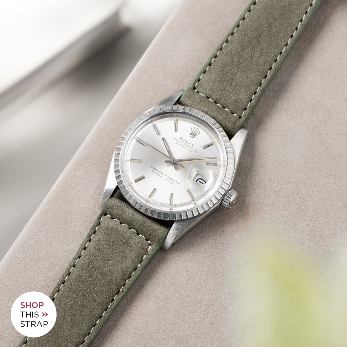 Bulang and sons_Strap Guide_Rolex Datejust Silverdial 1601 1603 1600 1630_OLIVE GREY NUBUCK LEATHER WATCH STRAP