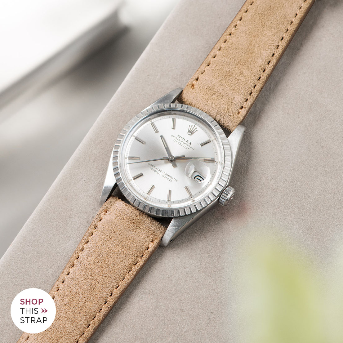 Bulang and sons_Strap Guide_Rolex Datejust Silverdial 1601 1603 1600 1630_REFINED LIGHT BROWN SUEDE WATCH STRAP