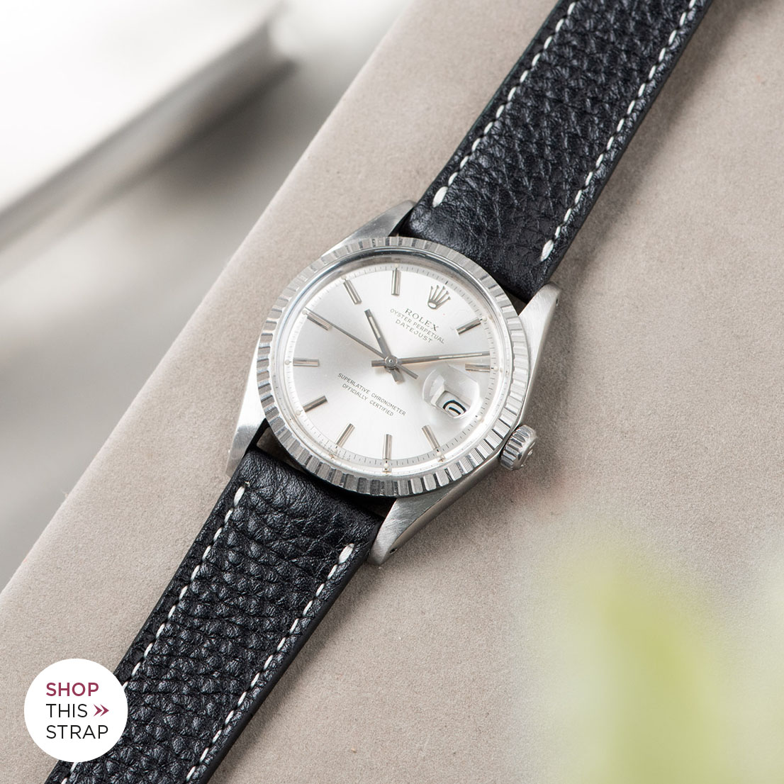 Bulang and sons_Strap Guide_Rolex Datejust Silverdial 1601 1603 1600 1630_RICH BLACK CREME STITCH LEATHER WATCH STRAP