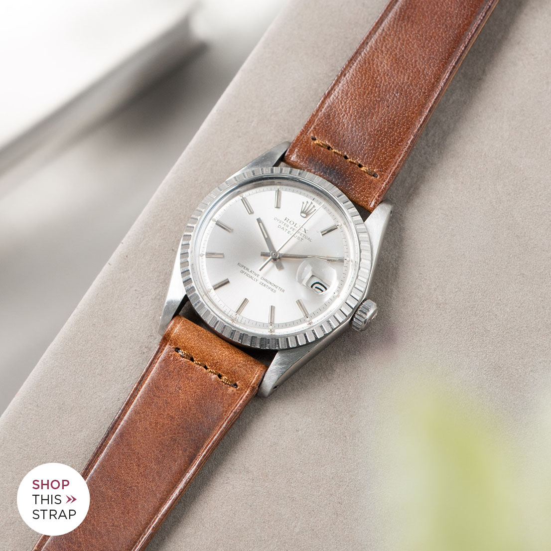 Bulang and sons_Strap Guide_Rolex Datejust Silverdial 1601 1603 1600 1630_SIENA BROWN EXTRA THIN LEATHER WATCH STRAP
