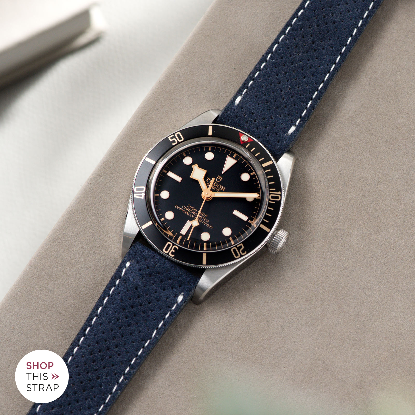 Bulang and Sons_Strap Guide_Tudor Black Bay 58_Punched Blue Silky Suede Leather Watch Strap