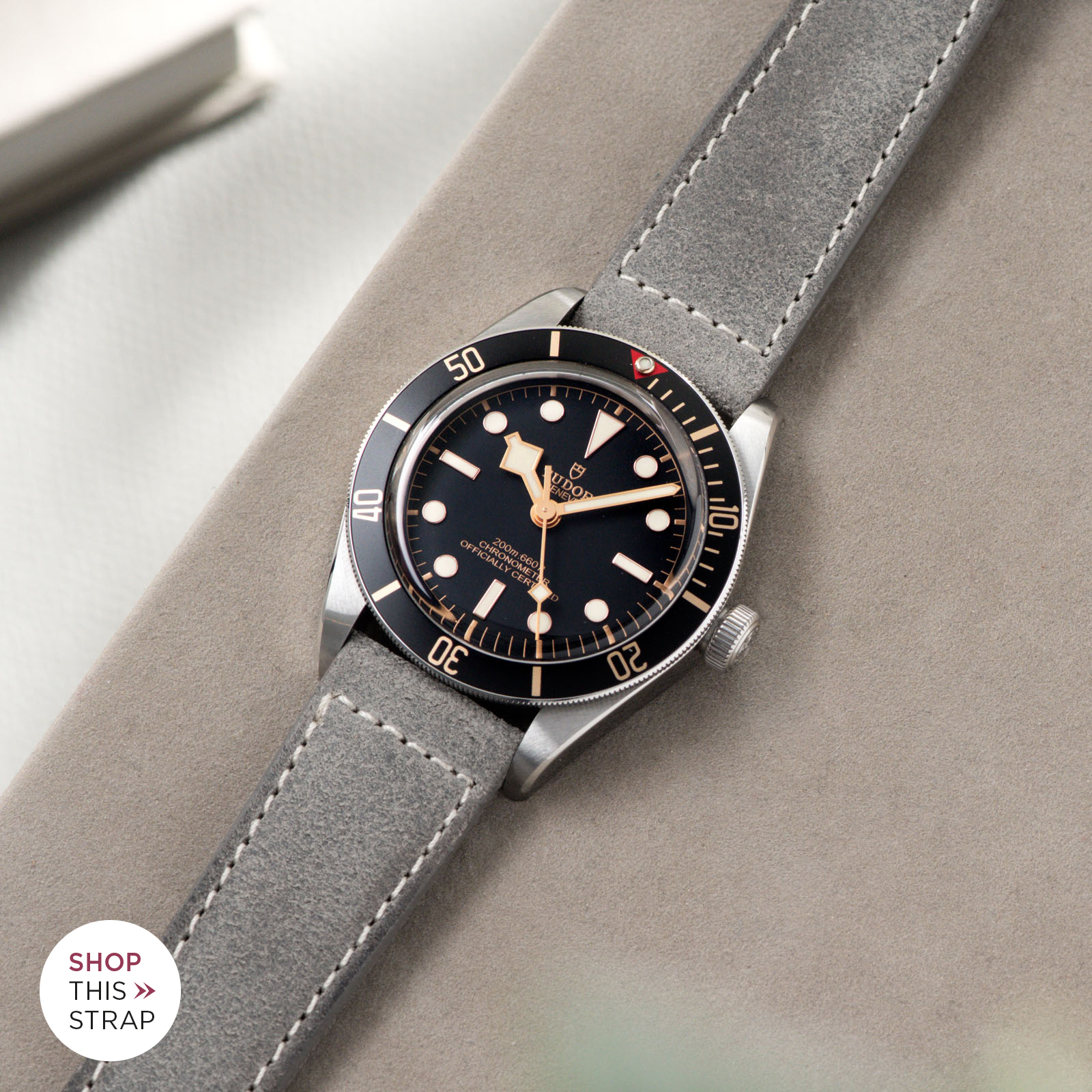 Bulang and Sons_Strap Guide_Tudor Black Bay 58_Rugged Grey Boxed Stitch Leather Watch Strap
