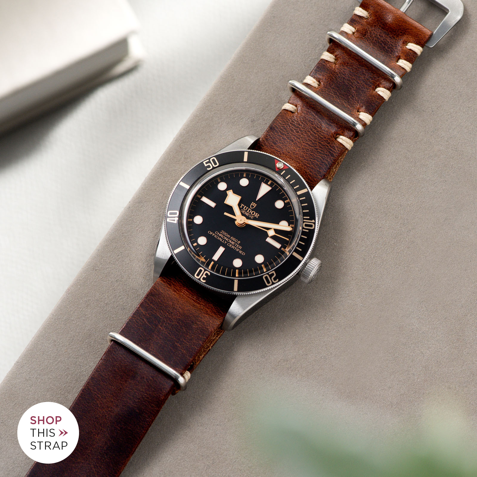 Bulang and Sons_Strap Guide_Tudor Black Bay 58_Siena Brown Nato Leather Watch Strap