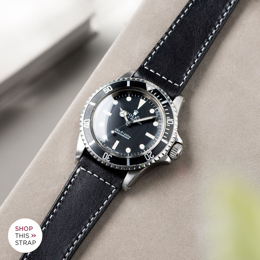Bulang and Sons_Strap Guide_Rolex 5513 Submariner_BLACK BOXED STITCH LEATHER WATCH STRAP.