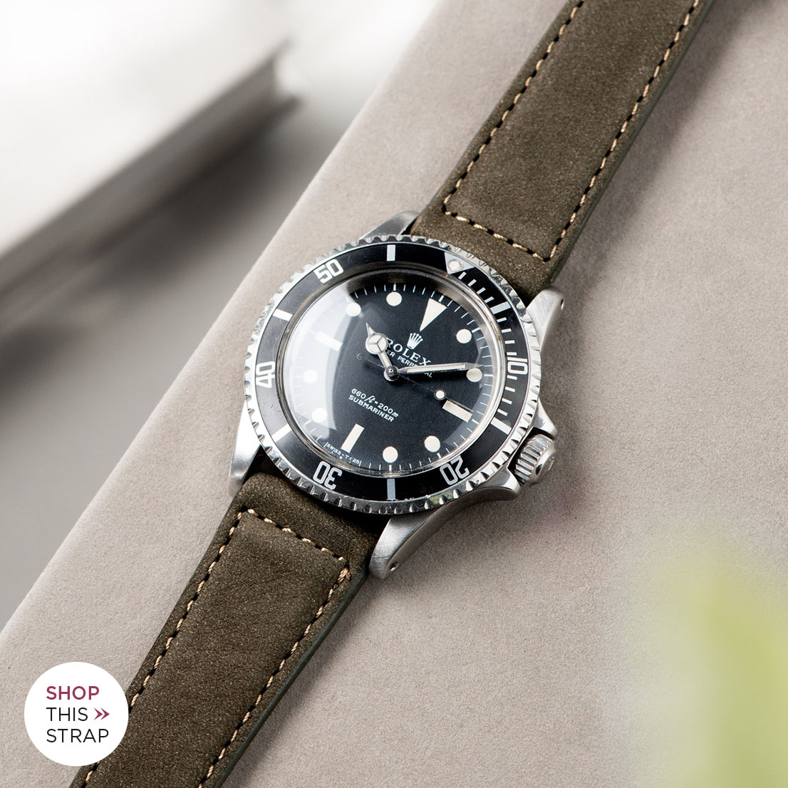 Bulang and Sons_Strap Guide_Rolex 5513 Submariner_DARK OLIVE GREEN NUBUCK LEATHER WATCH STRAP