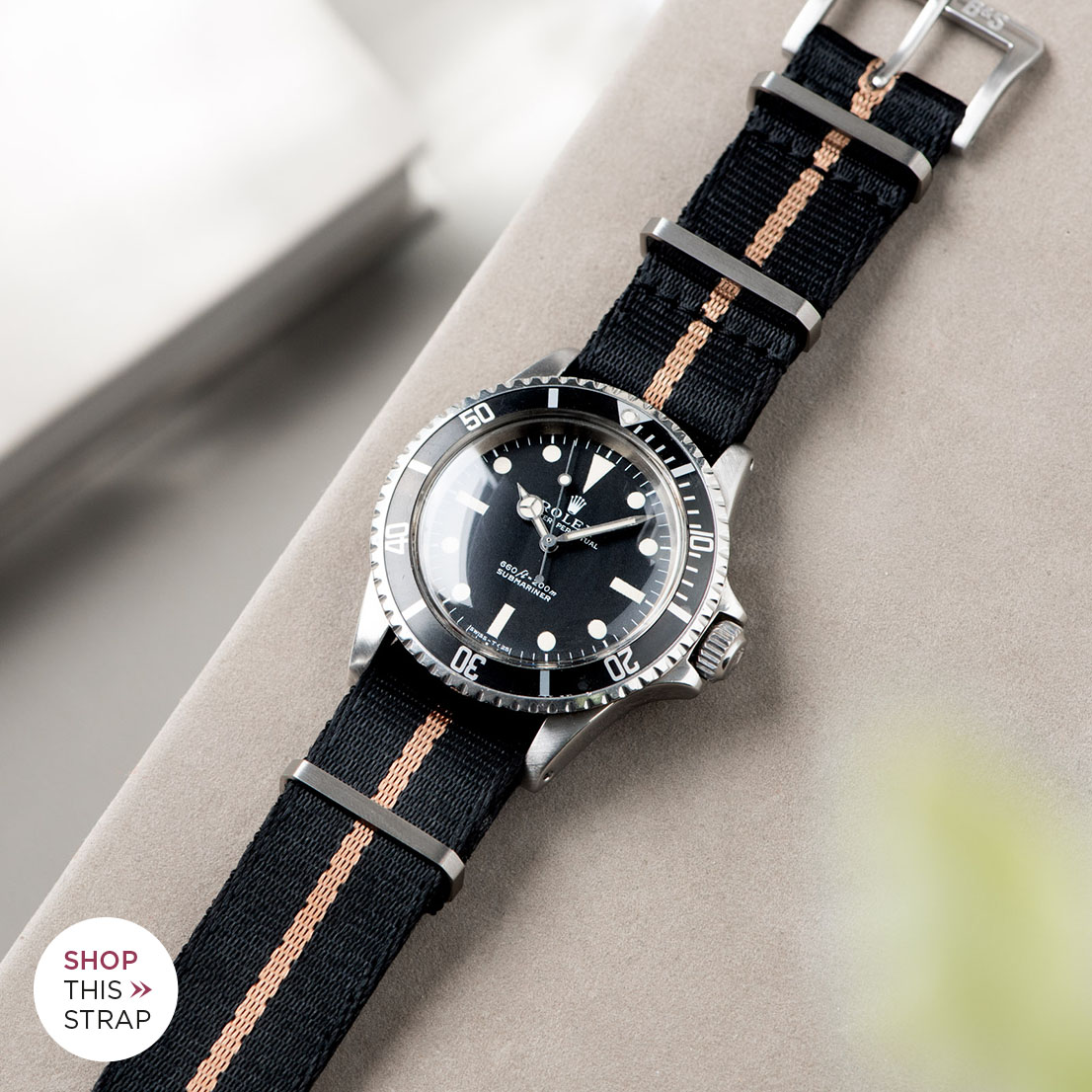 Bulang and Sons_Strap Guide_Rolex 5513 Submariner_DELUXE NYLON NATO WATCH STRAP BLACK ONE STRIPE BRONZE