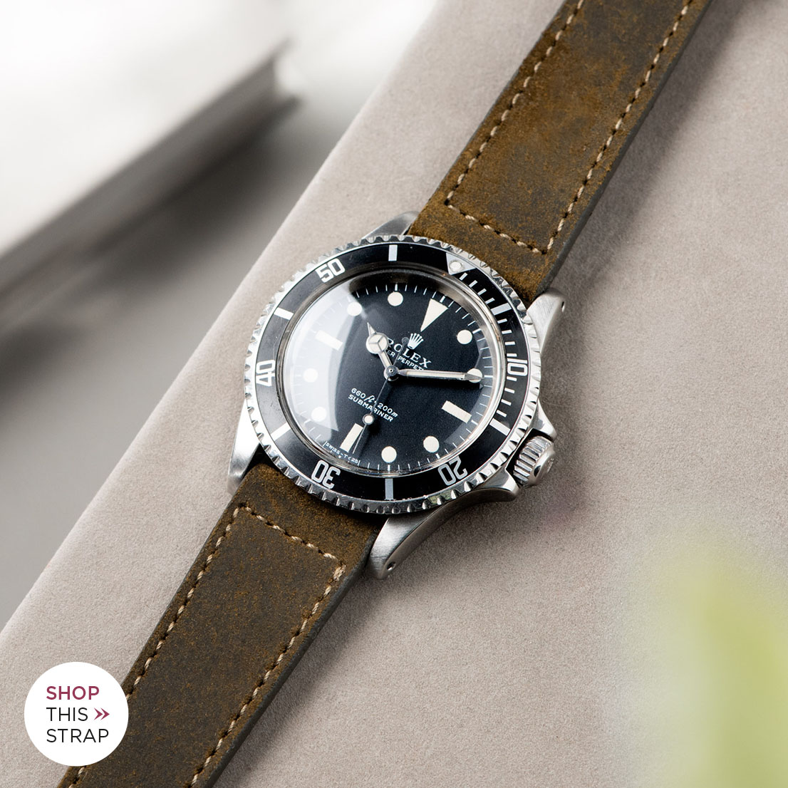 Bulang and Sons_Strap Guide_Rolex 5513 Submariner_MOSS GREEN RUGGED LEATHER WATCH STRAP