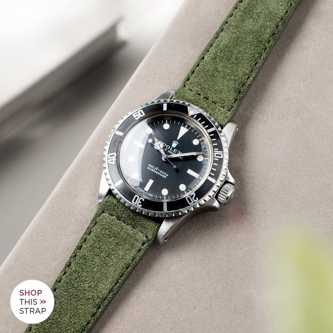 Bulang and Sons_Strap Guide_Rolex 5513 Submariner_OLIVE DRAB GREEN SUEDE LEATHER WATCH STRAP
