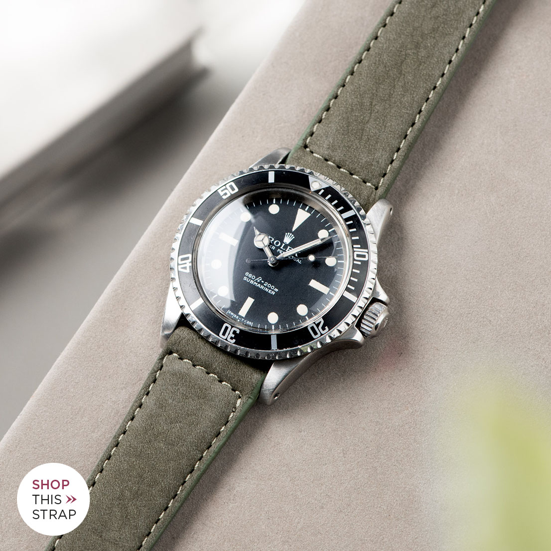 Bulang and Sons_Strap Guide_Rolex 5513 Submariner_OLIVE GREY NUBUCK LEATHER WATCH STRAP