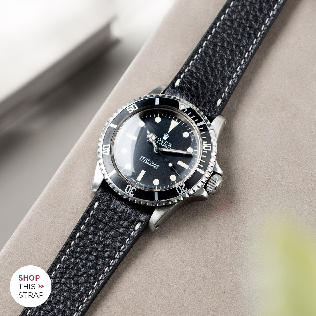 Bulang and Sons_Strap Guide_Rolex 5513 Submariner_RICH BLACK CREME STITCH LEATHER WATCH STRAP