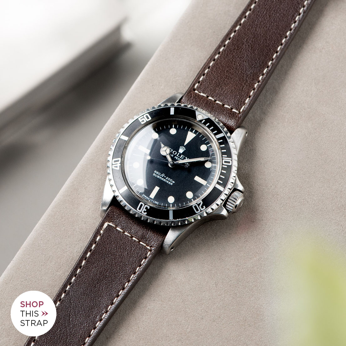 Bulang and Sons_Strap Guide_Rolex 5513 Submariner_SEAL DARK BROWN BOXED STITCH LEATHER WATCH STRAP
