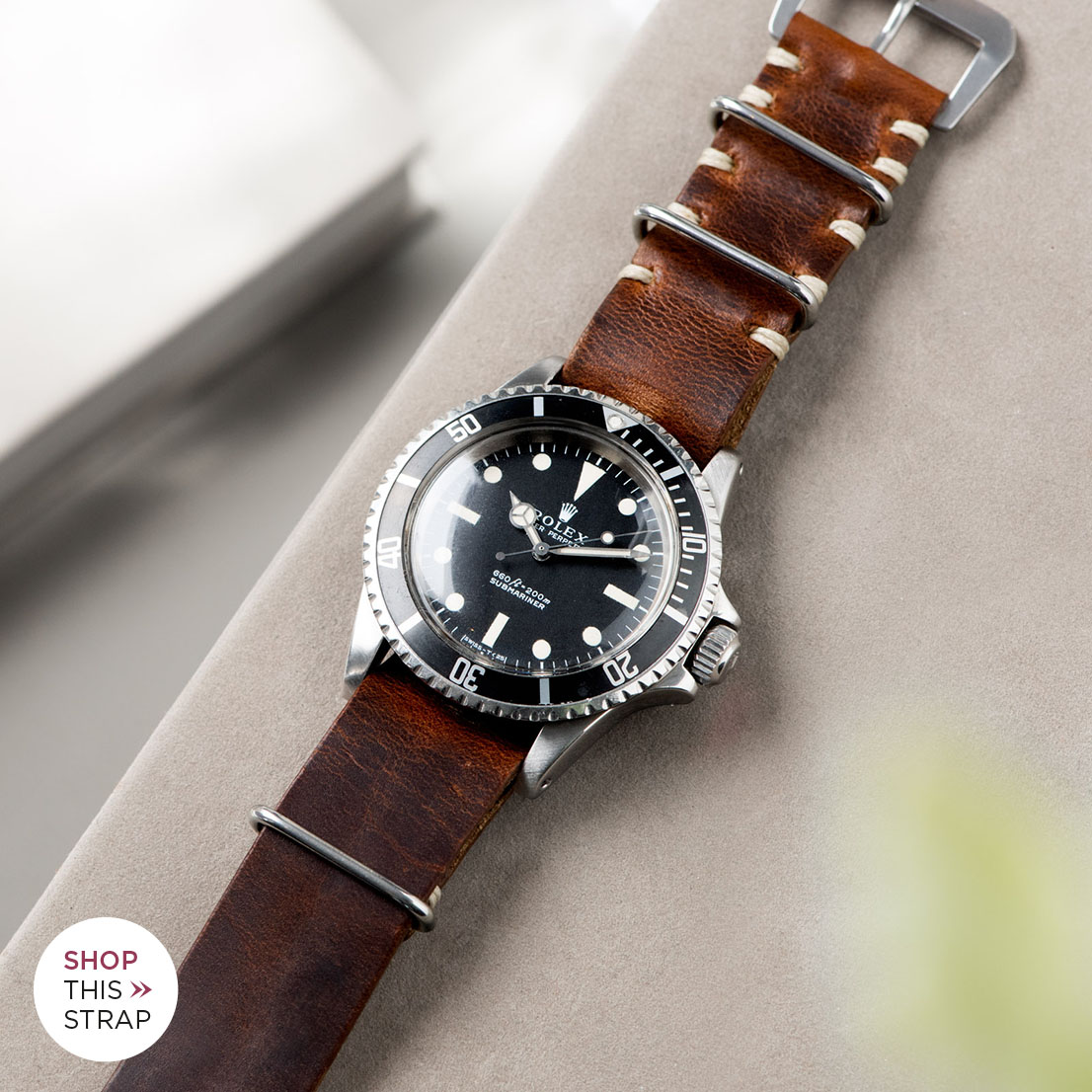 Bulang and Sons_Strap Guide_Rolex 5513 Submariner_SIENA BROWN NATO LEATHER WATCH STRAP