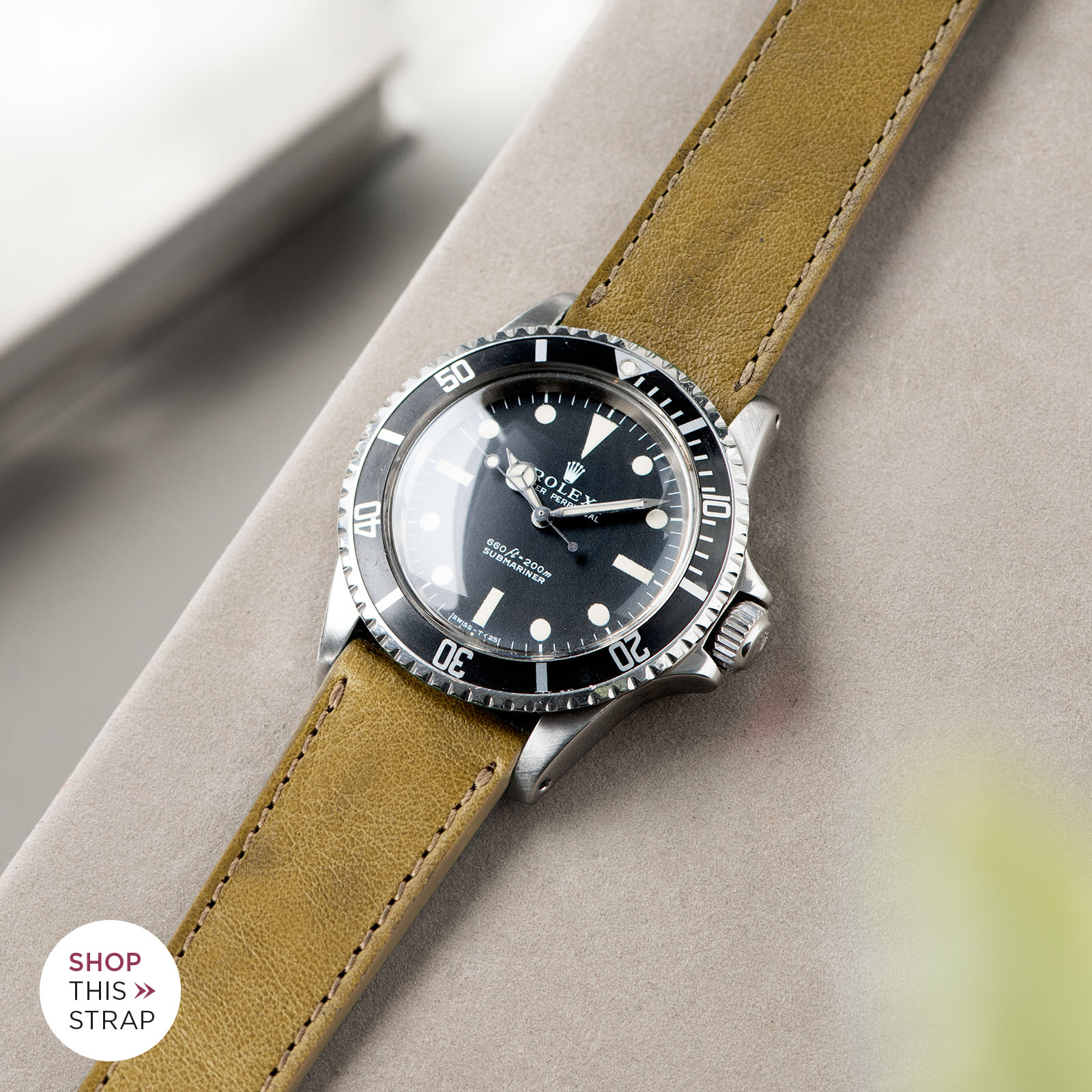 Bulang and Sons_Strap Guide_Rolex Submariner 5513 Black_Light Olive Leather Watch Strap_B