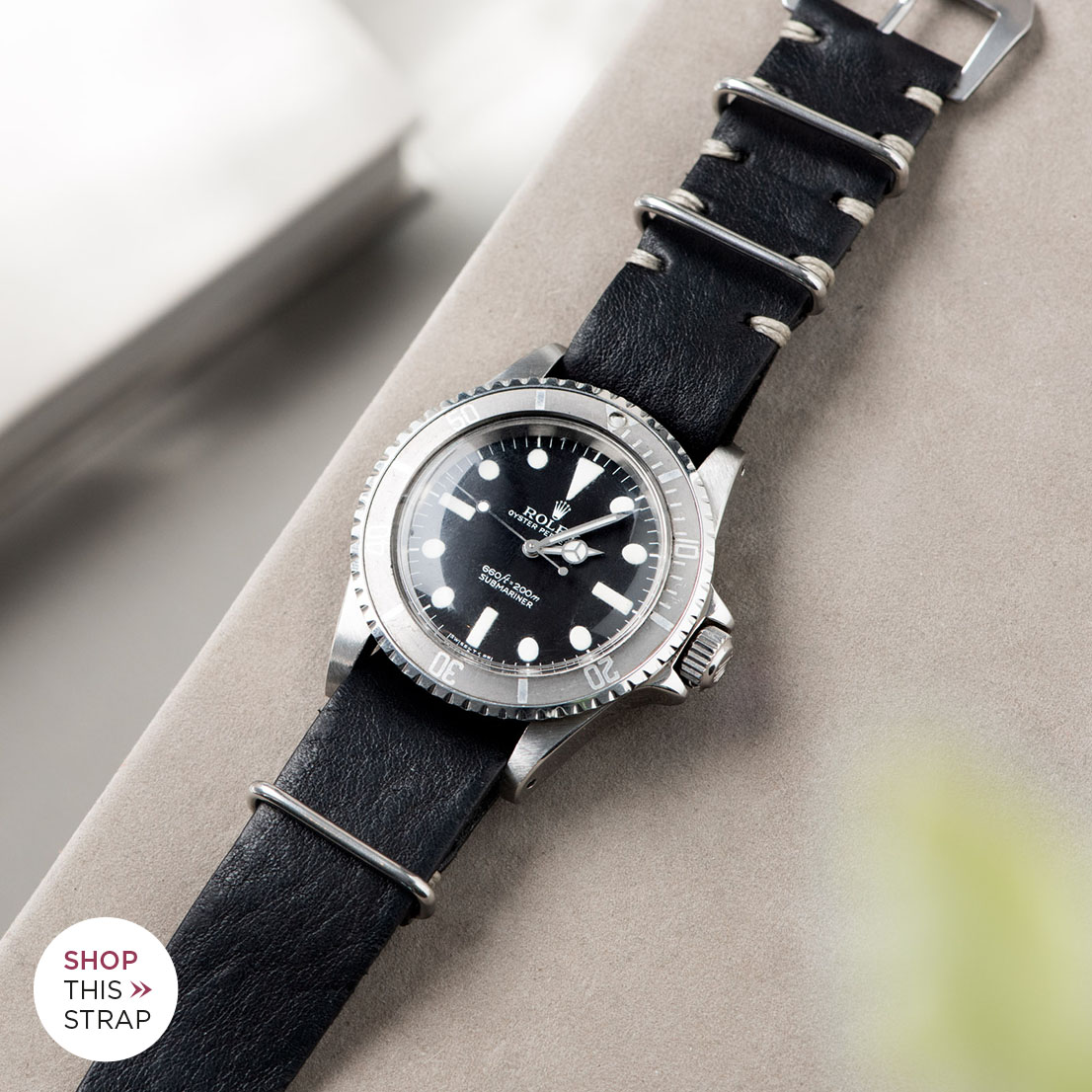 Bulang and Sons_Strap Guide_Rolex Submariner 5513 Faded_BLACK NATO LEATHER WATCH STRAP