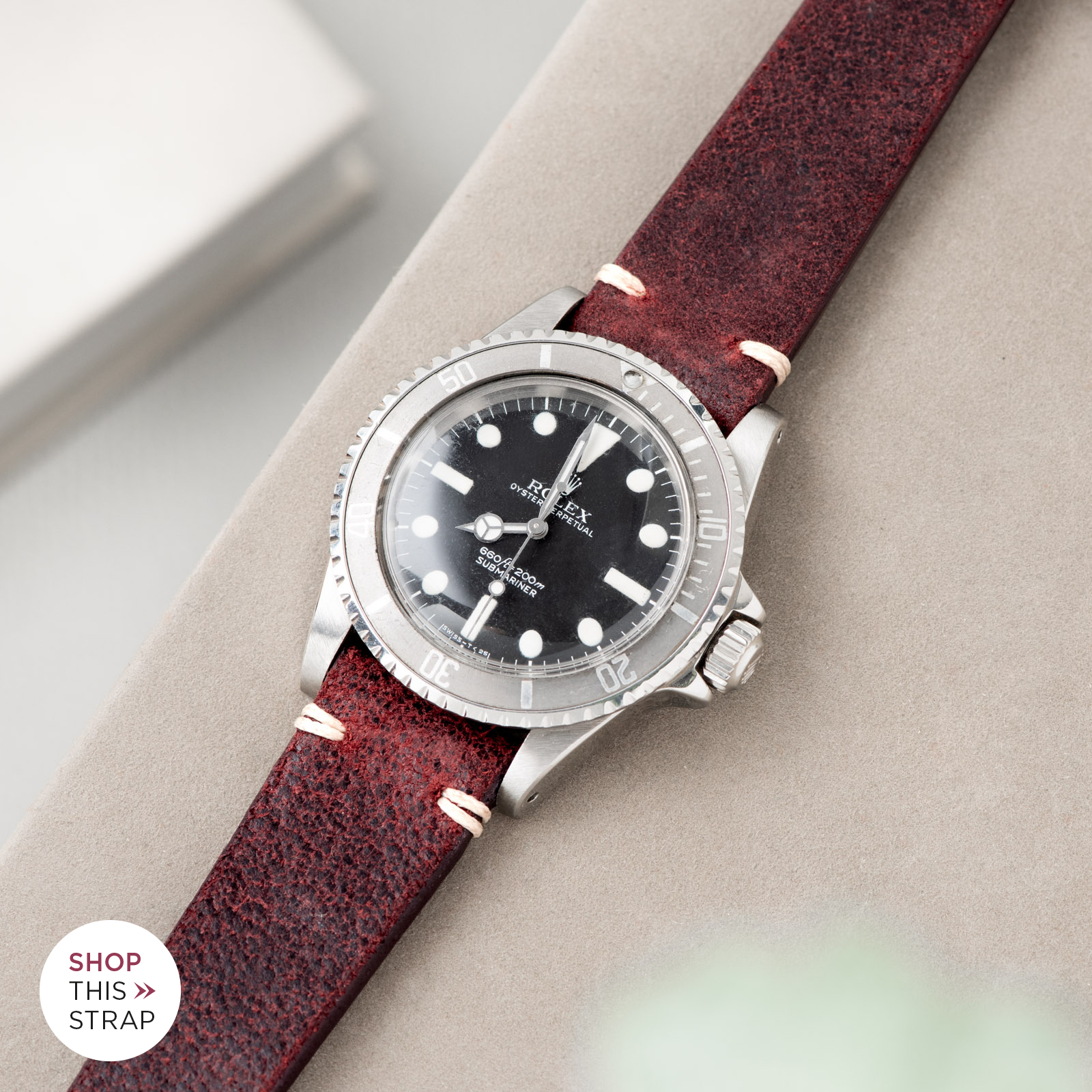 Bulang and Sons_Strap Guide_Rolex Submariner 5513 Faded_Crackle Burgundy Red Leather Watch Strap