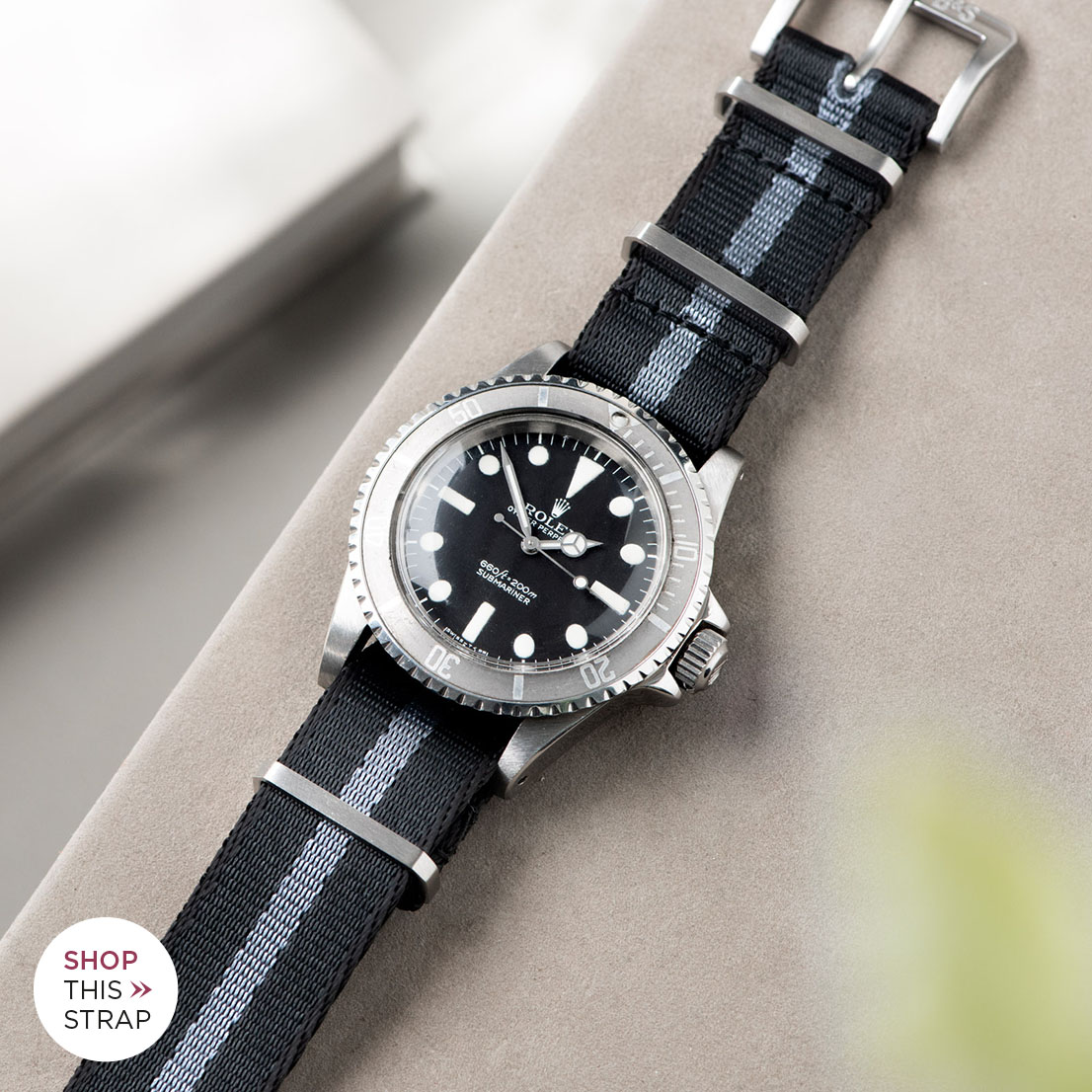 Bulang and Sons_Strap Guide_Rolex Submariner 5513 Faded_DELUXE NYLON NATO WATCH STRAP BLACK ONE STRIPE GREY