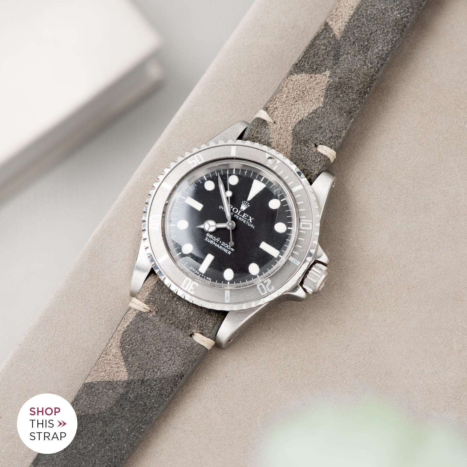Bulang and Sons_Strap Guide_Rolex Submariner 5513 Faded_Dark Camo Grey Silky Suede Watch Strap