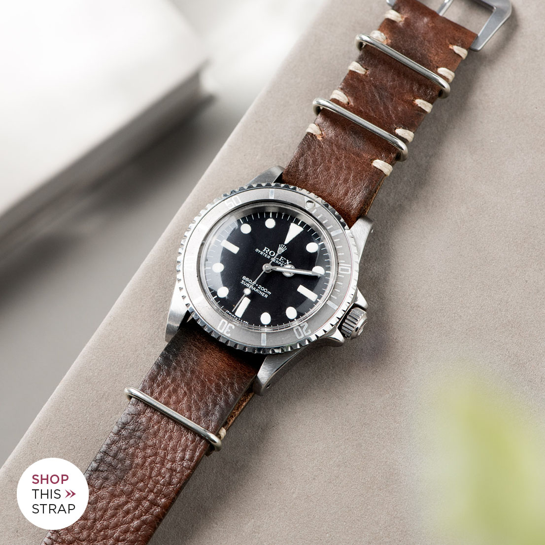 Bulang and Sons_Strap Guide_Rolex Submariner 5513 Faded_LUMBERJACK BROWN NATO LEATHER WACHT STRAP