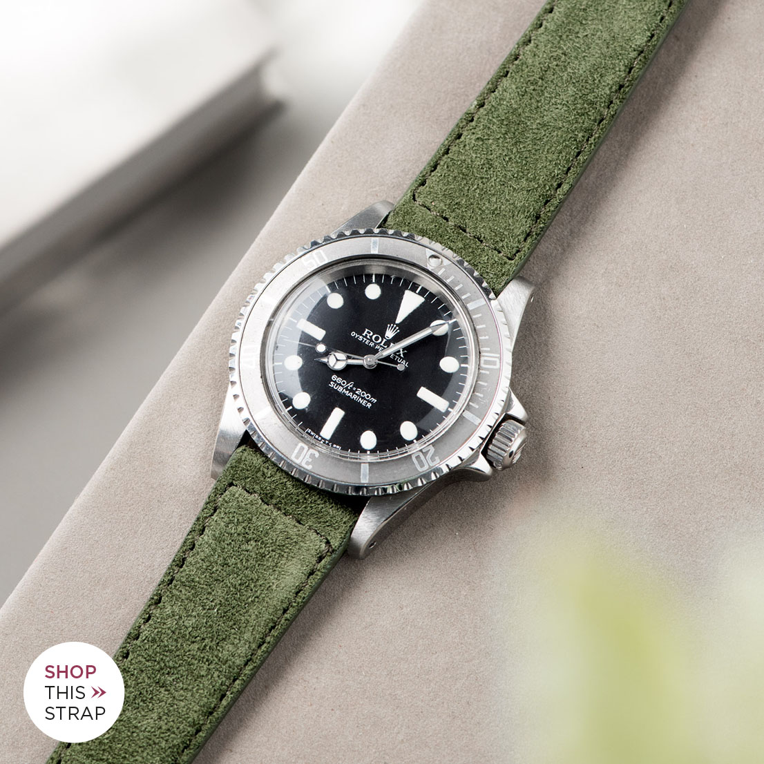 Bulang and Sons_Strap Guide_Rolex Submariner 5513 Faded_OLIVE DRAB GREEN SUEDE LEATHER WATCH STRAP