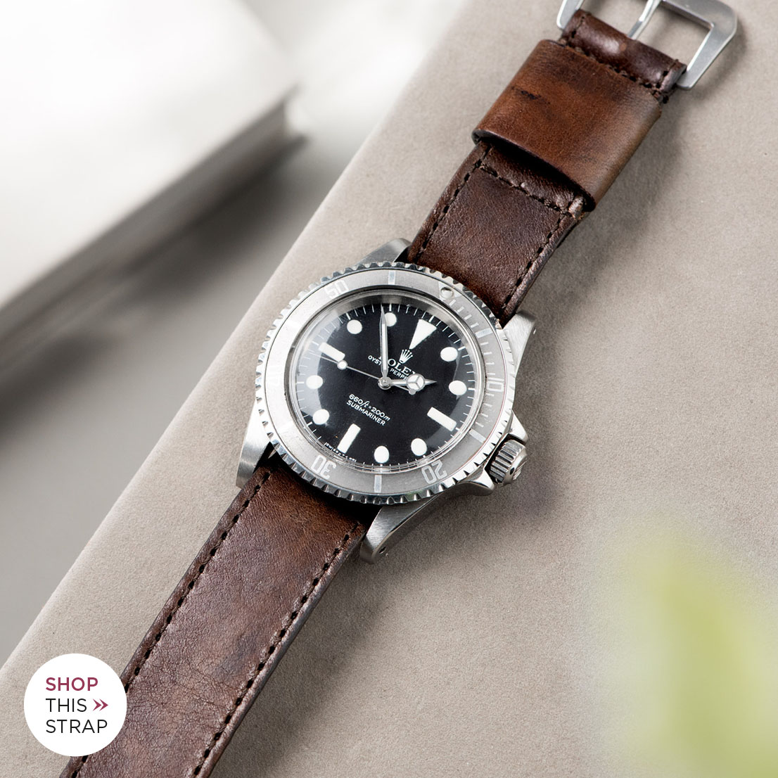 Bulang and Sons_Strap Guide_Rolex Submariner 5513 Faded_ONE PIECE NATO BROWN LUMBERJACK LEATHER WATCH STRAP